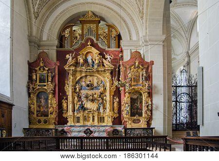 LUCERNE, SWITZERLAND - JUNE 12, 2013: Interior of Church of St. Leodegar or Hofkirche St. Leodegar in Lucerne, Switzerland