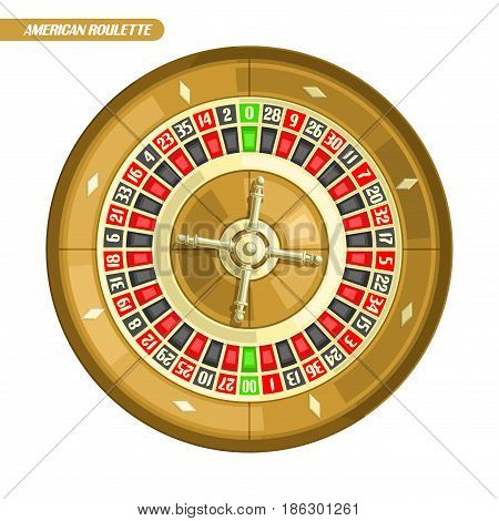 Vector illustration of Roulette Wheel: american roulette with double zero and golden wheel for online casino, top view, isolated on white background, roulette logo for gambling with text, gamble icon.