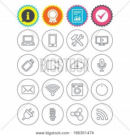 Report, information and award signs. Devices and technologies icons. Notebook, smartphone and wi-fi symbols. Usb flash, video camera, microphone thin outline signs. Vector