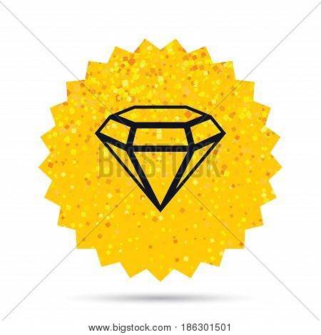 Gold glitter web button. Diamond sign icon. Jewelry symbol. Gem stone. Rich glamour star design. Vector