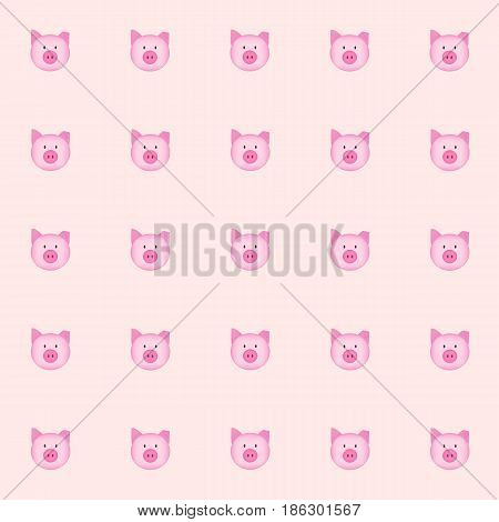 cutie pig and folding ear with pink background. tile background. vector. illustration. basic Red Green Blue. graphic design.