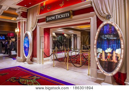 LAS VEGAS - JAN 08 : The Le Reve at the Wynn hotel in Las Vegas on January 08 2017. Le Reve is a stage production It is set in an aquatic stage with a one million-gallon water capacity