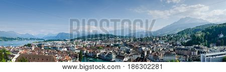 LUCERNE, SWITZERLAND - JUNE 12, 2013: Very large panoramic aerial view of Lucerne city, Switzerland