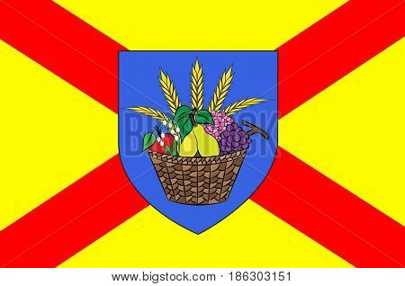 Flag of Bobigny is a commune and capital of the Seine-Saint-Denis departement as well as the seat of the Arrondissement of Bobigny France. Vector illustration