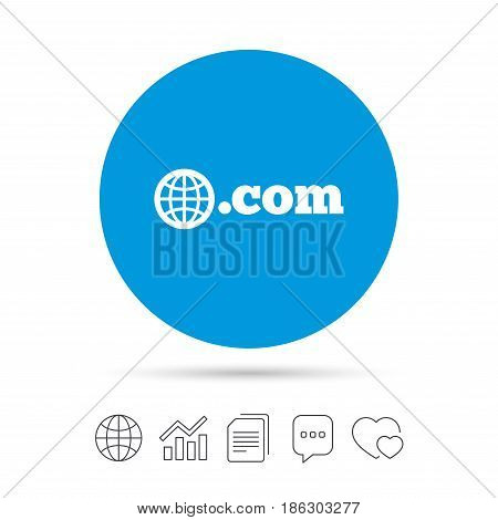 Domain COM sign icon. Top-level internet domain symbol with globe. Copy files, chat speech bubble and chart web icons. Vector