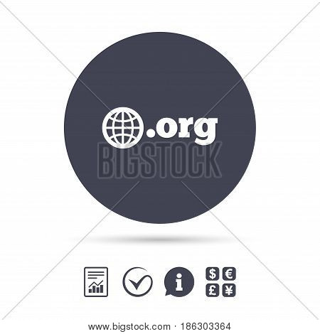 Domain ORG sign icon. Top-level internet domain symbol with globe. Report document, information and check tick icons. Currency exchange. Vector