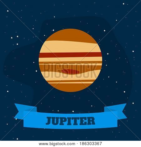 Jupiter on a background of open space. Vector illustration in flat style