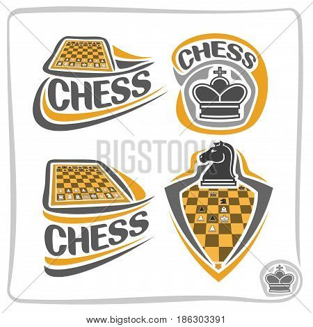 Vector set icons for Chess game: piece of queen crown, 4 abstract clip art logo with title text - chess, chessman of knight horse, emblem shield on chess board theme, fun chessboard isolated on white.