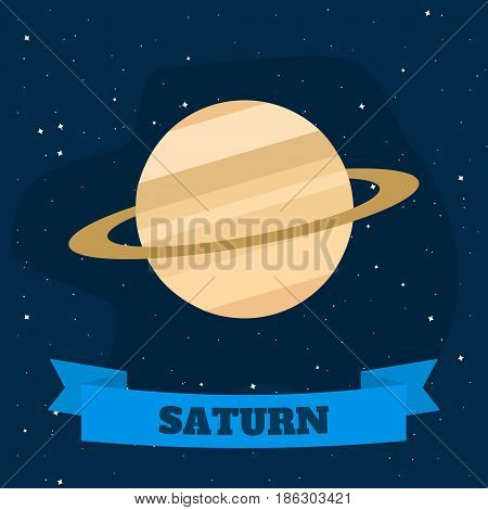 Saturn on a background of open space. Vector illustration in flat style