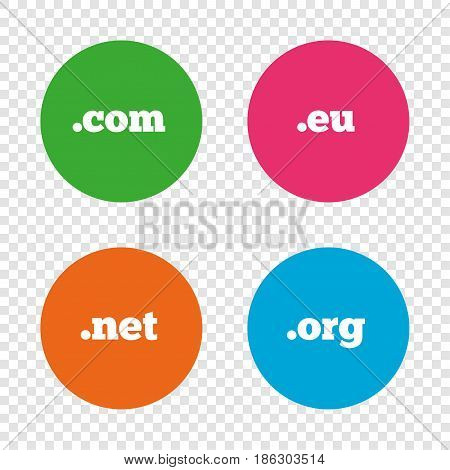 Top-level internet domain icons. Com, Eu, Net and Org symbols. Unique DNS names. Round buttons on transparent background. Vector