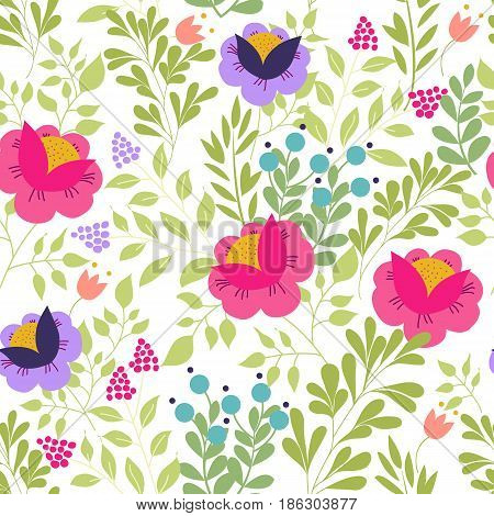 Seamless pattern with elements of meadow flowers, foliage, herbs on a white background. Vector illustration