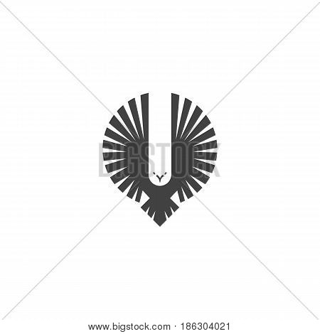 Eagle Logo, Emblem Of A Flying Hawk Hunter, Silhouette Of A Bird Of Predator With Wings Directed Upw