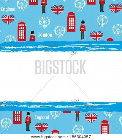 London landmarks symbols frame , vector illustration