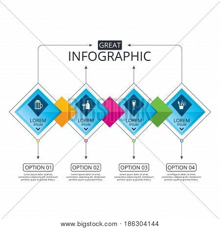 Infographic flowchart template. Business diagram with options. Alcoholic drinks icons. Champagne sparkling wine and beer symbols. Wine glass and cocktail signs. Timeline steps. Vector