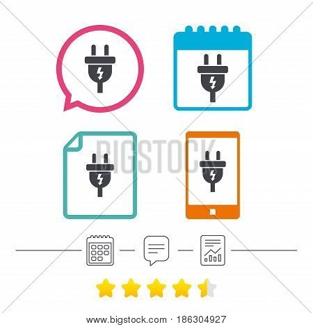 Electric plug sign icon. Power energy symbol. Lightning sign. Calendar, chat speech bubble and report linear icons. Star vote ranking. Vector