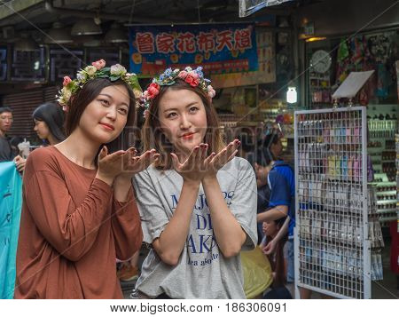 Portrait Of Two Young, Taiwanese Women
