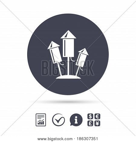 Fireworks rockets sign icon. Explosive pyrotechnic device symbol. Report document, information and check tick icons. Currency exchange. Vector