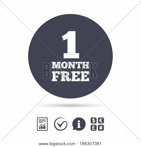First month free sign icon. Special offer symbol. Report document, information and check tick icons. Currency exchange. Vector