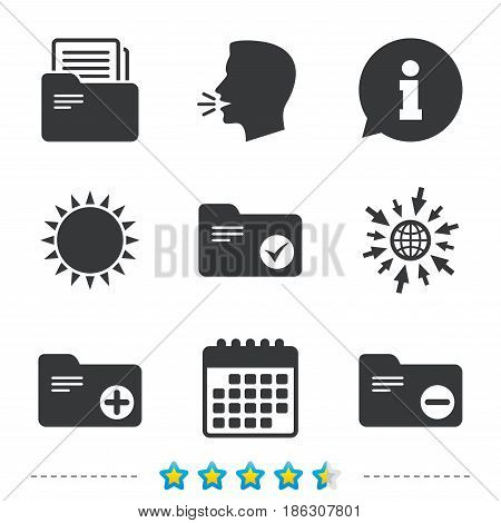 Accounting binders icons. Add or remove document folder symbol. Bookkeeping management with checkbox. Information, go to web and calendar icons. Sun and loud speak symbol. Vector
