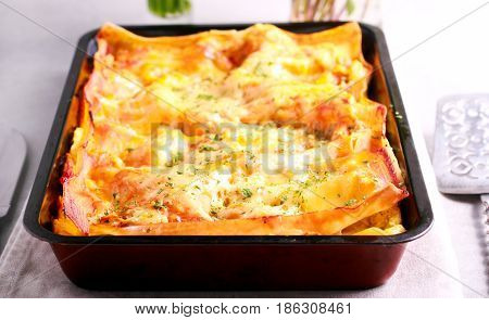 Creamy courgette and cheese lasagna on baking tin