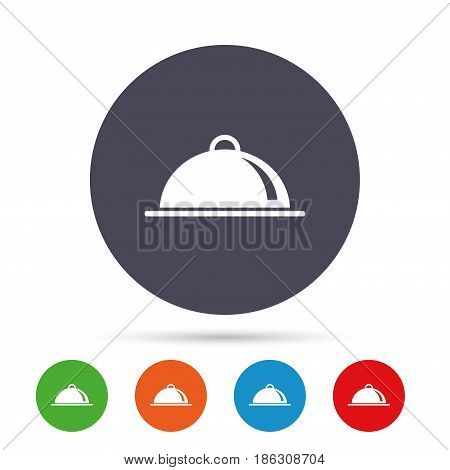 Food platter serving sign icon. Table setting in restaurant symbol. Round colourful buttons with flat icons. Vector