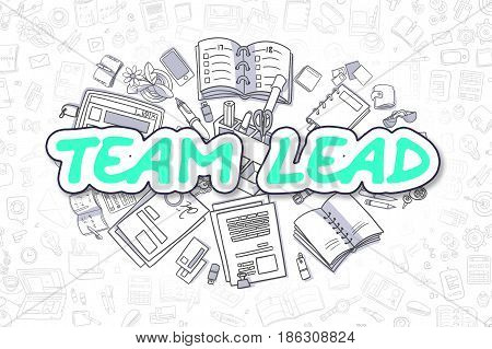 Cartoon Illustration of Team Lead, Surrounded by Stationery. Business Concept for Web Banners, Printed Materials.