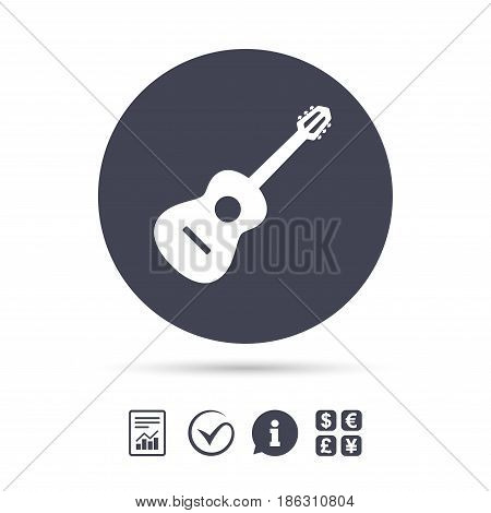 Acoustic guitar sign icon. Music symbol. Report document, information and check tick icons. Currency exchange. Vector