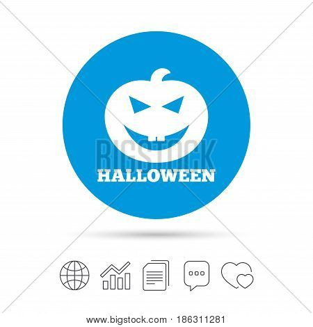 Halloween pumpkin sign icon. Halloween party symbol. Copy files, chat speech bubble and chart web icons. Vector