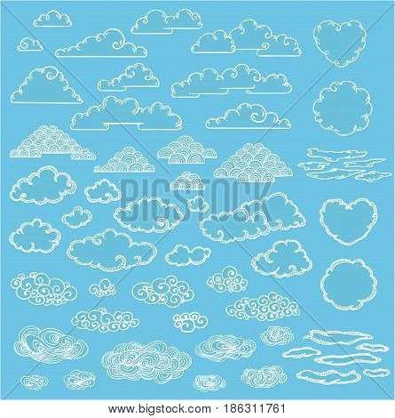Doodle elegant white clouds collection of different forms and sizes on blue sky background isolated vector illustration