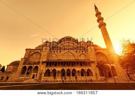 The Suleymaniye Mosque at sunset in Istanbul, Turkey. The Suleymaniye Mosque is the largest mosque in the city and one of the best-known sights of Istanbul.