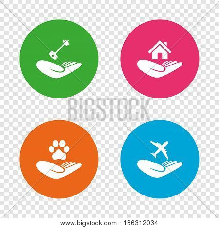 Helping hands icons. Shelter for dogs symbol. Home house or real estate and key signs. Flight trip insurance. Round buttons on transparent background. Vector