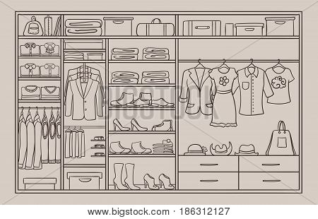 Doodle male and female wardrobe concept with dresses shirts trousers footwear belts hats bags in brown colors vector illustration
