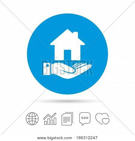 Home and hand sign icon. Palm holds house symbol. Copy files, chat speech bubble and chart web icons. Vector