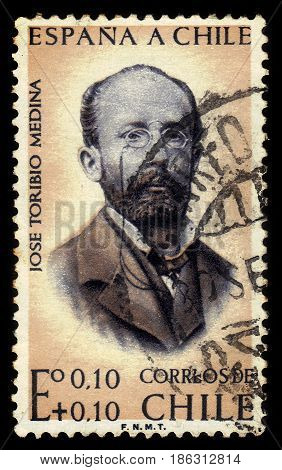 CHILE - CIRCA 1961: a stamp printed in the Chile shows Jose Toribio Medina was a chilean bibliographer and writer, circa 1961