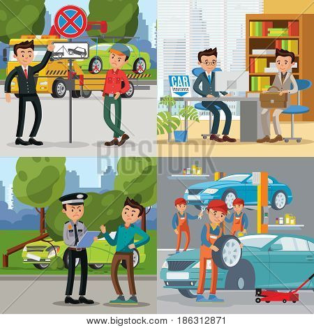 People and automobile square concept with fines for wrong parking accident car insurance and repair services vector illustration