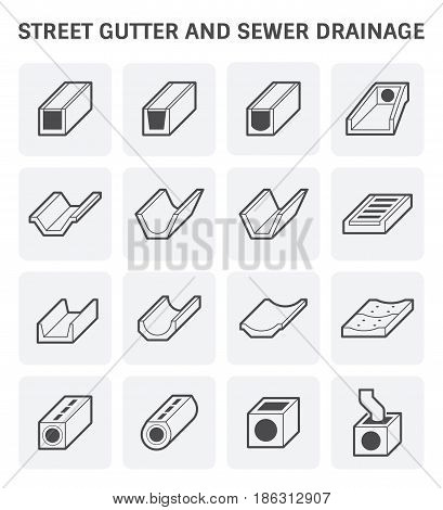 Vector icon of street gutter or road gutter and sewer drainage.