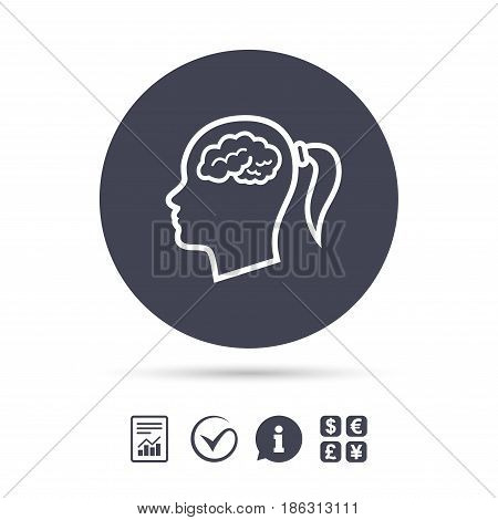 Head with brain sign icon. Female woman human head think symbol. Report document, information and check tick icons. Currency exchange. Vector