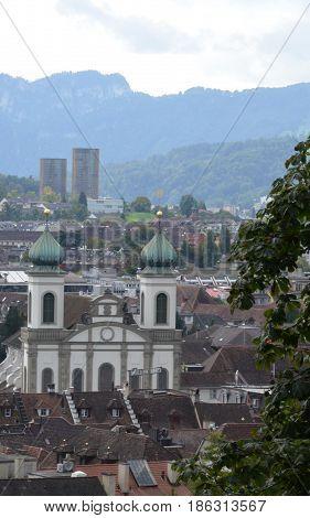 The old Jesuit church in Lucerne, Switzerland