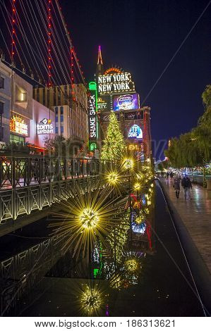LAS VEGAS - NOV 24 : New York-New York Hotel & Casino in Las Vegas on November 24 2016 This hotel simulates the real New York City skyline and It was opened in 1997.