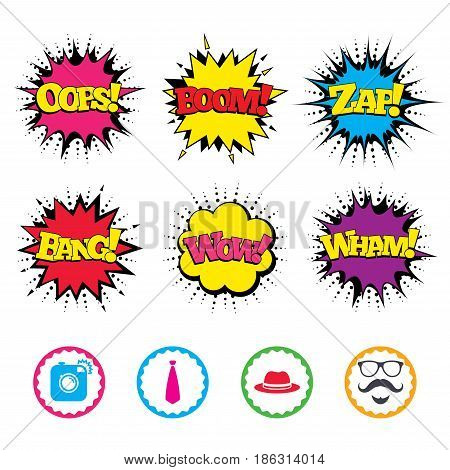Comic Wow, Oops, Boom and Wham sound effects. Hipster photo camera. Mustache with beard icon. Glasses and tie symbols. Classic hat headdress sign. Zap speech bubbles in pop art. Vector