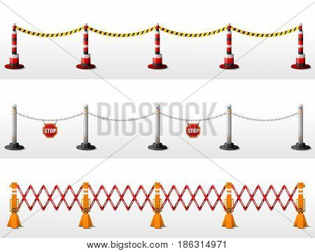 Different types of safety barriers. Crowd control stanchions with tape bollards with chain expandable barricade. Best vector illustration for security protection enclosure fencing etc