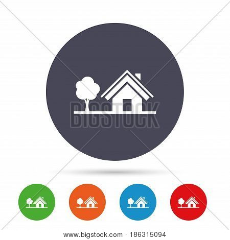 Home sign icon. House with tree symbol. Round colourful buttons with flat icons. Vector
