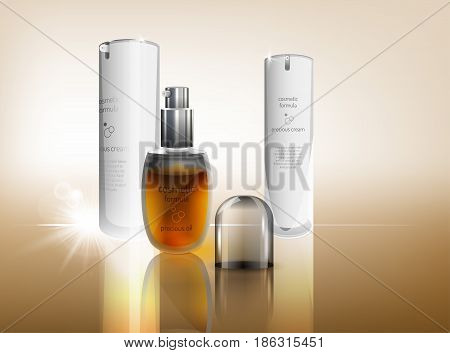 Beautiful vector illustration with white cream and transparent oil flacons in realistic style. Cosmetic, skin care or perfumery concept in warm golden colours. Premium design template.