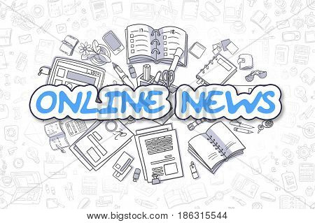 Online News - Sketch Business Illustration. Blue Hand Drawn Word Online News Surrounded by Stationery. Doodle Design Elements.