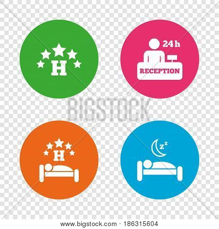 Five stars hotel icons. Travel rest place symbols. Human sleep in bed sign. Hotel 24 hours registration or reception. Round buttons on transparent background. Vector