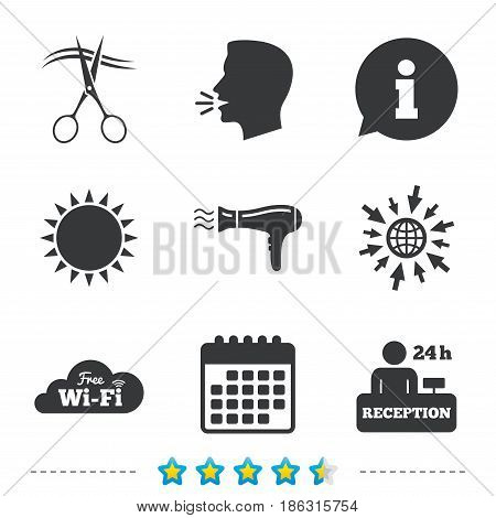 Hotel services icons. Wi-fi, Hairdryer in room signs. Wireless Network. Hairdresser or barbershop symbol. Reception registration table. Information, go to web and calendar icons. Vector