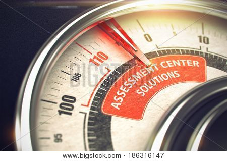 Conceptual Illustration of a Compass with Red Needle Pointing to Maximum of Assessment Center Solutions. Horizontal image. 3D Illustration.