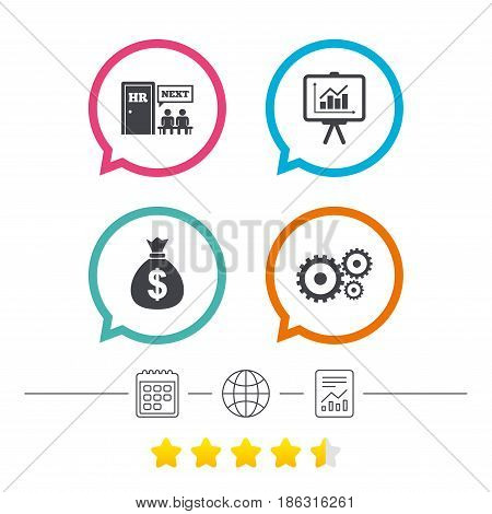 Human resources icons. Presentation board with charts signs. Money bag and gear symbols. Man at the door. Calendar, internet globe and report linear icons. Star vote ranking. Vector