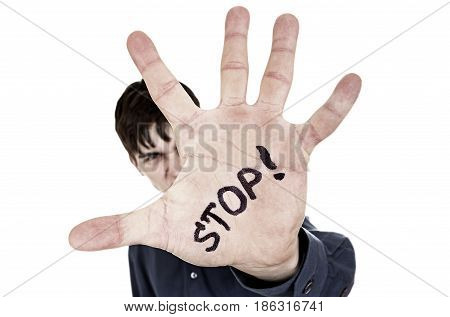 Toned Photo of the Man with Refusal Gesture on the White