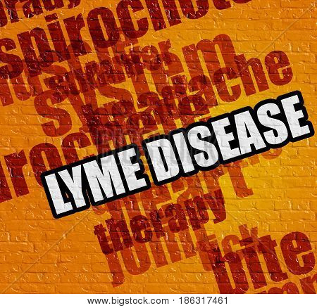 Modern healthcare concept: Lyme Disease on the Yellow Brickwall . Yellow Brick Wall with Lyme Disease on the it .